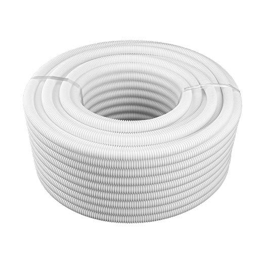 Split Wire Loom Tubing White 3/4' Dia 30Feet, Polyethylene Flexible Corrugated Pipe Tube, Tubing Wire Conduit Cover Auto Home Marine