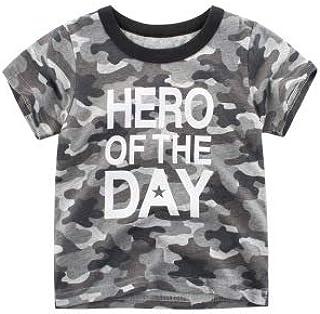 Camisetas de manga corta para niños con diseño de camuflaje