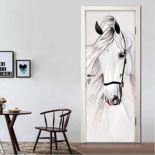 ZPCR Self-Adhesive 3D Door Stickers Hand Painted White Horse Abstract Art Wall Painting Bedroom Study Room Door Mural 3D PVC Wallpaper Decor