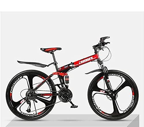 Bicicleta De Montaña Plegable, Bicicleta Ultra Ligera para Adultos, Choque Doble Fuera De Carretera, Estudiante Bicicleta-Tres Cuchillos Top con [Rojo Negro 1]_21 Velocidad (por Defecto 26 Pulgadas),