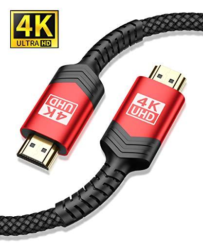 JSAUX 4K-HDMI-Kabel, 2 m, HDMI 2.0, 18 Gbit/s, unterstützt 3D, 4K bei 60 Hz, UHD mit 2160p, HD mit 1080p, Ethernet-kompatibel 2M Schwarz
