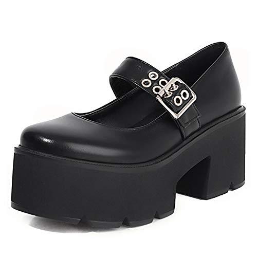 VOMIRA Mary Janes - Zapatos de tacón alto y ancho con hebilla para mujer, puntera redonda, con plataforma, negro (3 Negro), 37.5 EU