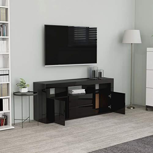 Lechnical - Mueble para televisor, mueble para TV, mueble de TV, mueble bajo para TV, mesa de televisión, mesa de TV, mesa de salón, color negro brillante, 120 x 30 x 50 cm