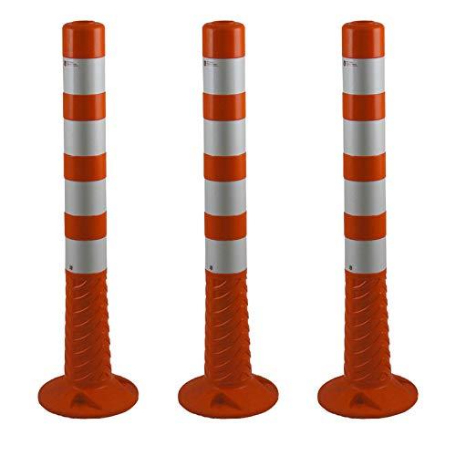 UvV 3er Set 75 cm Hohe orange Absperrpfosten UVTP7504 flexibel – selbstaufrichtender Sperrpfosten aus PU (Polyurethan) orange (Silber reflektierend)
