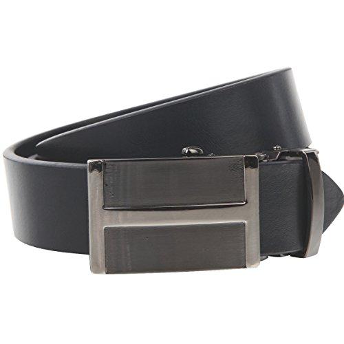 Lindenmann Mens leather belt/Mens belt, leather belt with autolock buckle, navy, Größe/Size:100, Farbe/Color:bleu