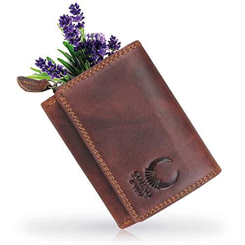 Corno d´Oro Kleine Damen Leder Geldbörse I schlanker Geldbeutel mit RFID Schutz I Mini Herren Portmonee I Portemonnaie in Geschenk-Box braun 14050