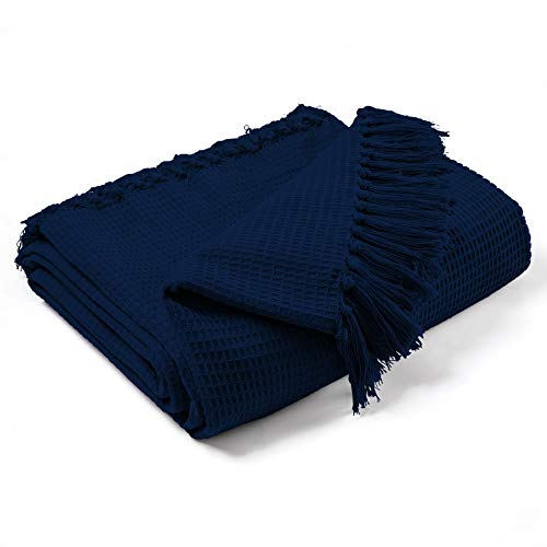 EHC Waffle Cotton Woven Large Sofa Throw 2 Seater Chair/Sofa/Bed 178 x 254 cm, Navy Blue