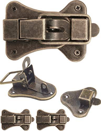 FUXXER® - 2 cierres para cofres, cajas, maletas, herrajes de metal para candado, diseño vintage de latón, juego de 2 con tornillos, 95 mm x 52 mm.