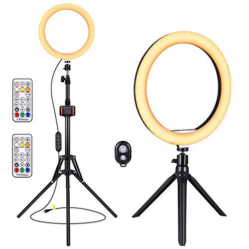 YUNLIGHTS RGB LED-Ringlicht mit Ständer & Fernbedienung & Telefonhalter & Kamerafernbedienung, dimmbares Make-up Magic Light mit Desktop-Ständer für iPhone Android, 10.2-Zoll