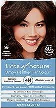 Tints of Nature 4N Natural Medium Brown, Vegan Permanent Hair Dye, 95% Natural, Free from Ammonia, Parabens, and Propylene Glycol, Single