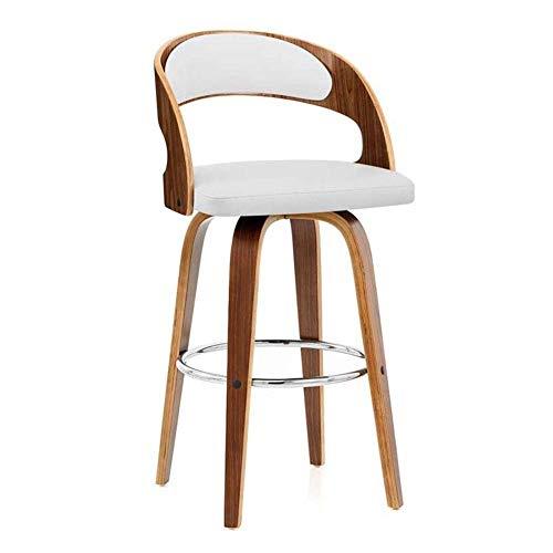 JIEER-C barkruk, 360 graden draaibaar, poten van hout, rugleuning voor eetkamerstoel, keuken, restaurant, café, zithoogte 70 cm, robuust Wit