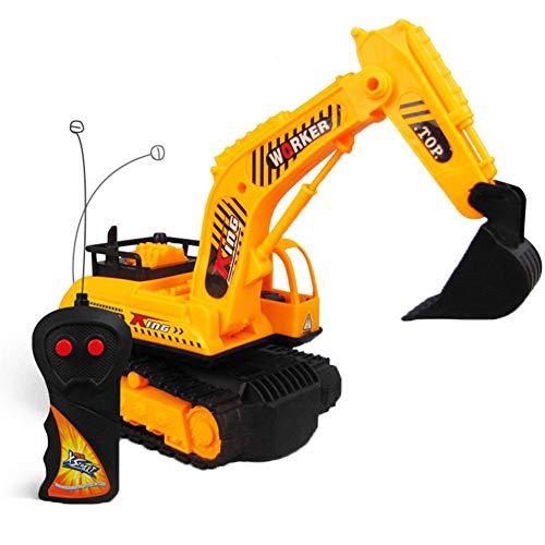 LJSHU Niño y niña Excavadora de Control Remoto inalámbrico Puede avanzar y retroceder para rotar el Equipo de Juego de los niños