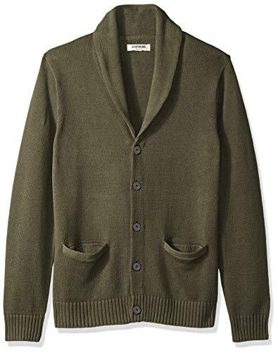 Marchio Amazon - Goodthreads, Cardigan da uomo, in morbido cotone, sciallato, Solid Olive, Medium Tall
