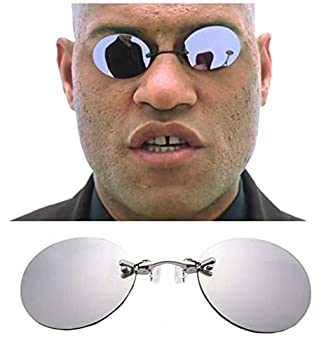CCGSDJ Clip On Nose Sunglasses Men Vintage Matrix Morpheus Rimless Sun Glasses Round Glasses
