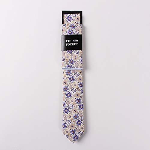 PGDD Tie pak, bedrukt katoenen stropdas zakdoek trendy tweedelig pak