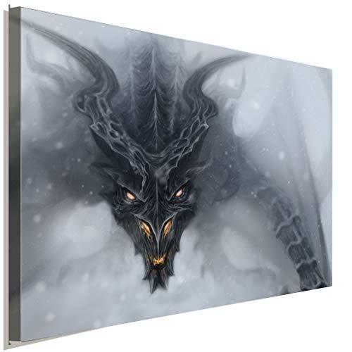 AK ART Skyrim Alduin Dragon Leinwandbild Kunstdruck Wandbild Wanddeko Mehrfarbig TOP XXL (100 x 70 cm)