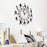 Juego de baloncesto reloj etiqueta de la pared calcomanía arte vinilo decoración decoración para sala de deportes gimnasio