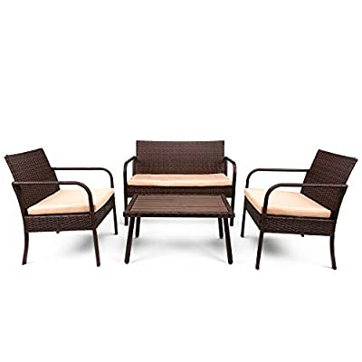 Best Choice Products 4-Piece Wicker Patio Conversation Set w/ 3 Chairs, Coffee Table, Weather-Resistant Cushions - Brown