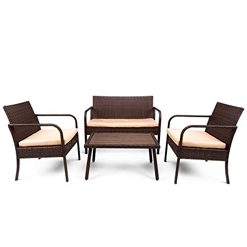 Best Choice Products 4-Piece Wicker Patio Conversation Set...