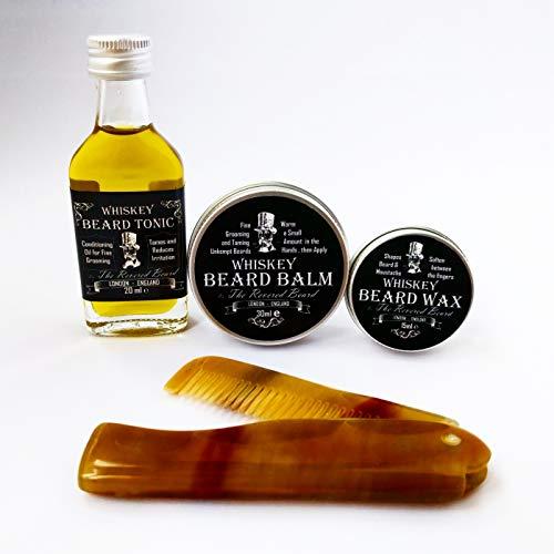 Whisky Duftend Herren Pflege Geschenk Set von Revered Beard; Organisch Bartöl, Bartbalsam, Wachs, Bart-Kamm & Dose