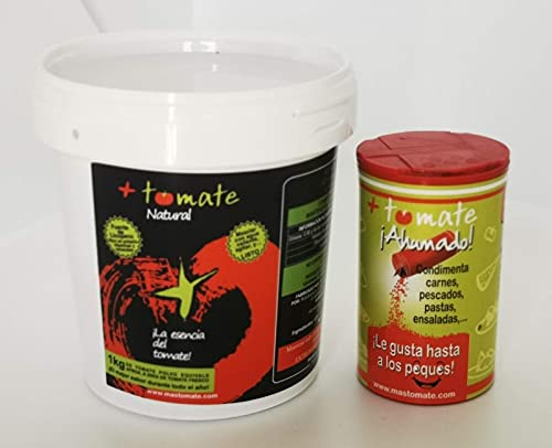 Tomate Natural en Polvo Deshidratado + Tomate Natural ahumado - El NUEVO ingrediente + el NUEVO Sazonador -  Todo el sabor y propiedades del tomate fresco  - Producto de Extremadura [ 500gr + 100gr]
