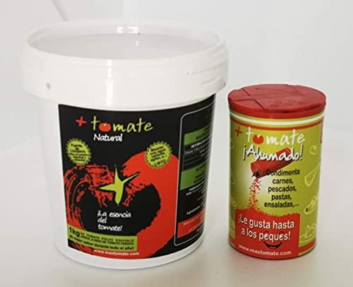 Tomate Natural en Polvo Deshidratado + Tomate Natural ahumado - El NUEVO ingrediente + el NUEVO Sazonador - 'Todo el sabor y propiedades del tomate fresco' - Producto de Extremadura [ 500gr + 100gr]