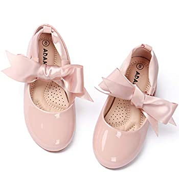 ADAMUMU Girls Dress Shoes Cute Bow Mary Jane Shoes Ballerina Flats with Satin Ankle Tie,Flower Girls for Wedding Birthday Party or School Daily Dress Up,Pink,12M Little Kid