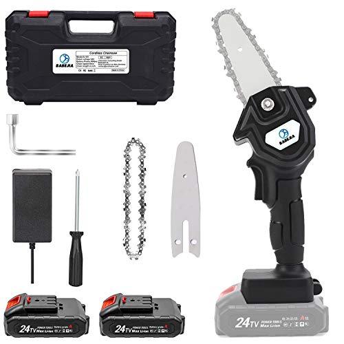 BABEJIA 24VF Mini Motosierra Bateria, Motosierra Eléctrica Portátil de 4 pulgadas para Podar Árboles / Corte de Madera, con Adaptador de Corriente Certificado (2 Baterías y Caja) - Negro