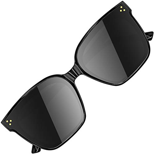 ATTCL Gafas de sol de moda grandes rectangulares con protección UV400 Marco TR90 JD211 Black