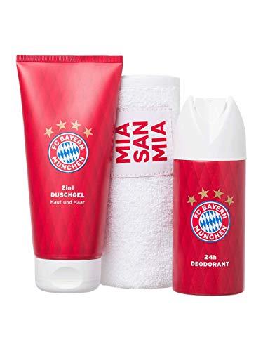 FC Bayern München Pflege-Set Gästetuch, 2in1 Duschgel und Deo-Spray