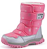 DADAWEN Girls Boys Snow Boots Winter Outdoor Waterproof Slip Resistant Cold Weather Shoes (Toddler/Little Kid/Big Kid) Pink US Size 2 M Little Kid