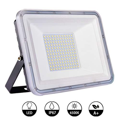 100W Focos LED Exterior 8000lm Floodlight Foco Proyector LED IP67 Impermeable Reflector LED 6500K Blanco Frío, Luz de Trabajo Luz de Pared para Jardín Garaje Terraza[Clase de eficiencia energética A+]