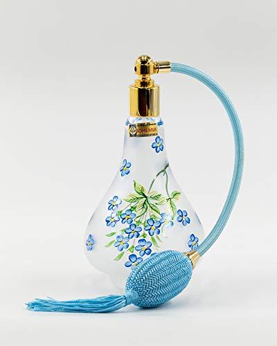 Martinoli Pulvérisateur pour parfum en cristal de Bohemia Vintage, Azzuro mat – 400 g