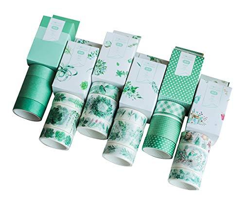 Azue マスキングテープ 紙テープ 18巻セット 2m巻 ギフト きれい かわいい 和紙テープ デコレーション 直径4cm 15mm幅×12巻 30mm幅×6巻 カラフル 剥がしやすい