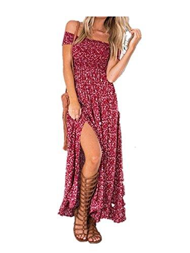 Yidarton Femme Robe Longue Ete Boheme Chic Maxi Robe de Plage Soirée Casual Imprimé Fleurie Mode Fendue Col Bateau Épaules Dénudées Rouge 40-42 / L