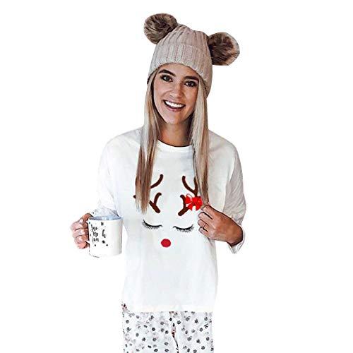 GreatestPAK Frohe Weihnachten Sweatshirt Damen Rentiermuster Langarm Rundhals Pullover T-Shirt Tops,Weiß,S (Büste:98cm)
