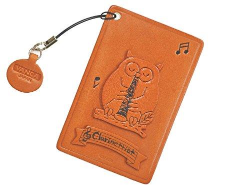 Funda para tarjeta de identidad con diseño de búho con clarinete, hecha a mano en Japón