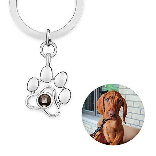 Llavero conmemorativo para mascotas, regalo para dueños de perros, gatos, pérdida de regalo para amantes de mascotas, llavero personalizado con foto personalizada en memoria de de huella de pata