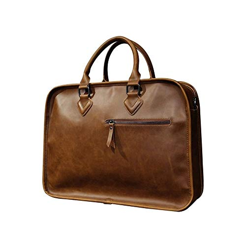 Wdonddon Bolsa de maletín Bolsa de mensajero portátil, bolso de mensajero de negocios de cuero genuino multi-bolsillo para hombre que se adapta a una computadora portátil de oficina de 15 pulgadas par