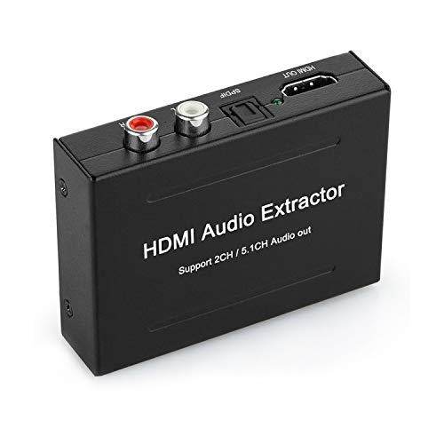 HDMI Audio Extractor, 4K HDMI to HDMI + Audio (SPDIF + RCA Stereo) Audio Extractor Supports Apple TV, Fire TV and Blue-Ray Players HDMI to Optical Audio Converter