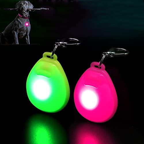 DOMIGLOW LED Dog Collar Light - 2 Packs LED Dog Tag Light for Dog Collar Clip-On Dog Lights for Night Walking & Camping (Rose red & Green)