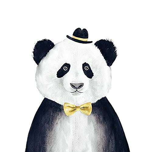 Cuadro en lienzo con estampado de animales de dibujos animados de estilo nórdico, bonito León, oso Panda, cuadro artístico de pared para niños, habitación de bebé, decoración sencilla creativa 40x60cm