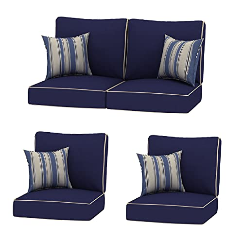 Creative Living 4PC Chat Group Outdoor Deep Seating Refresh Patio 24x24 Replacement Cushions with...