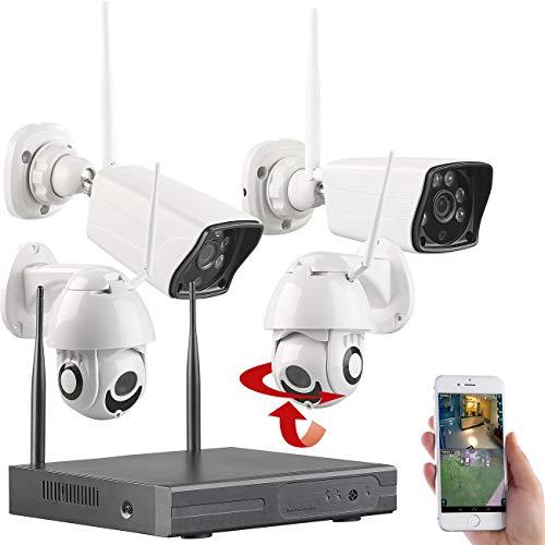 VisorTech Überwachungssysteme: Funk-Überwachungs-Set: HDD-Rekorder, je 2 Standard- & PTZ-Kameras, App (Überwachungskamera System)