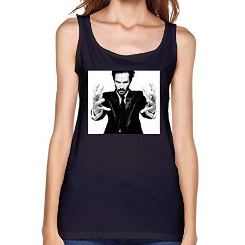 YBRB Keanu Reeves Camiseta sin Mangas Premium para Mujer Chaleco sin Mangas de algodón de Moda Hogar al Aire Libre Negro