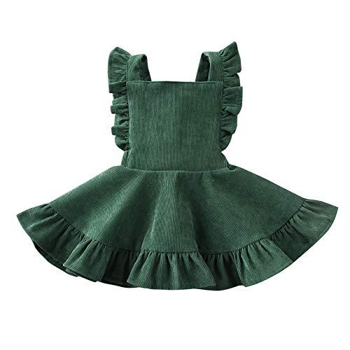 Specialcal Baby Girls Velvet Suspender Skirt Infant Toddler Ruffled Casual Strap Sundress Summer Outfit Clothes (4-5T, Green 2(Velvet))