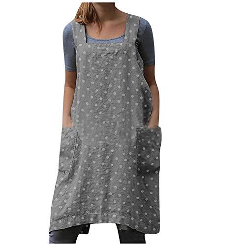 NAQUSHA Vestido de trabajo de lino de algodón para mujer con correa cruzada cuadrada para jardín