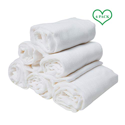 6 Pack Cotton Burp Cloths, Prefold Cloth Diaper,White,13 x 19 Inch,2+3+2
