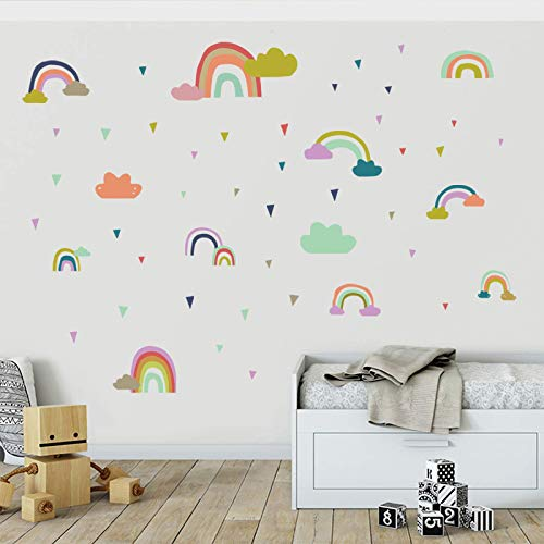 2 Sets of Rainbow Wall Stickers Living Room Bedroom Children's Room Decorative Wall Stickers Paper Technology Scrapbooking Removable Selfadhesive Stickers