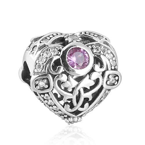 Desconocido JCaleydo – Purple Zirconia Heart 925 Sterling Silver with Gift Box – Compatible with Pandora Bracelet